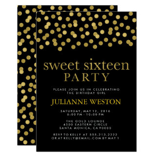 Glitter Gold & Black Confetti Sweet Sixteen Party Card