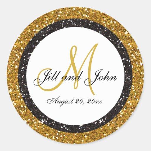 glitter gold black wedding monogram seals sticker zazzle