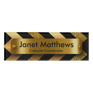 Glitter Gold Chevron with Gold Label Plate Name Tag
