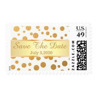 Glitter Gold Confetti Dots Save The Date Postage