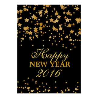 Glitter Gold Confetti Stars New Years Eve Party Poster