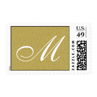 Glitter Gold Custom Monogram Postage