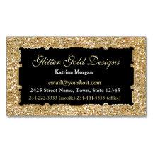 Glitter Gold Elegance Magnetic Business Card Magnetic Business Cards