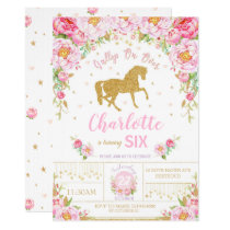 Glitter Gold Floral Horse Birthday Invitation Girl