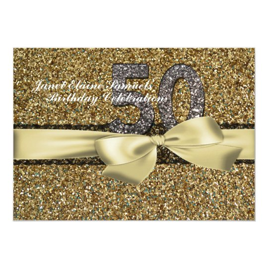 Glitter gold lace woman 50th birthday invitation zazzle glitter gold lace woman 50th birthday invitation filmwisefo