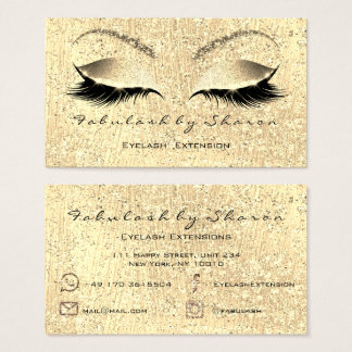 Glitter Gold Makeup Lashes Instagram FB Mail Tel Business Card
