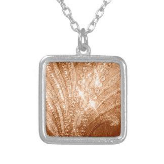 Glitter Gold Square Pendant Necklace