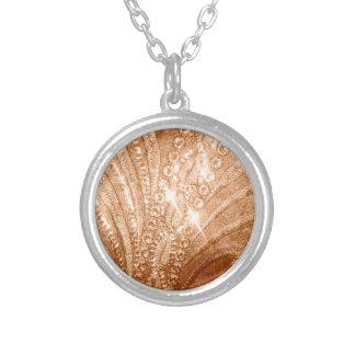 Glitter Gold Round Pendant Necklace