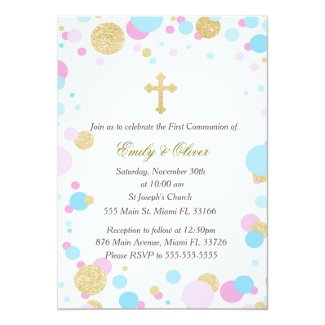 Glitter Gold Pink Blue Twins Communion Invitation