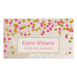glitter gold pink confetti modern Business Cards