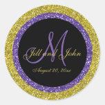 Glitter Gold Purple Wedding Monogram Seals Sticker