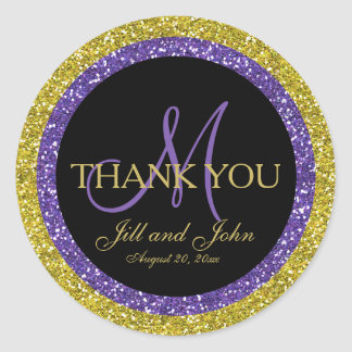 Glitter Gold Purple Wedding Thank You Sticker