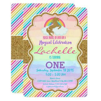 Glitter Gold Rainbow Unicorn Birthday Party Invita Card