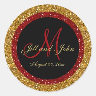 Glitter Gold Red Wedding Monogram Seals Sticker
