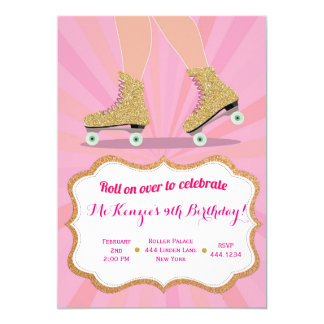 Glitter Gold Roller Skate Birthday Invitations