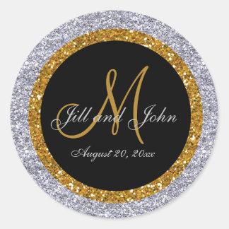 Glitter Gold Silver Wedding Monogram Seals Sticker