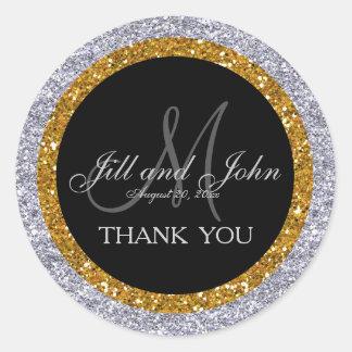 Glitter Gold Silver Wedding Thank You Sticker