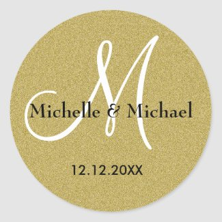 Glitter Gold Wedding Custom Monogram Classic Round Sticker
