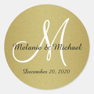 Glitter Gold Wedding Custom Monogram Stickers