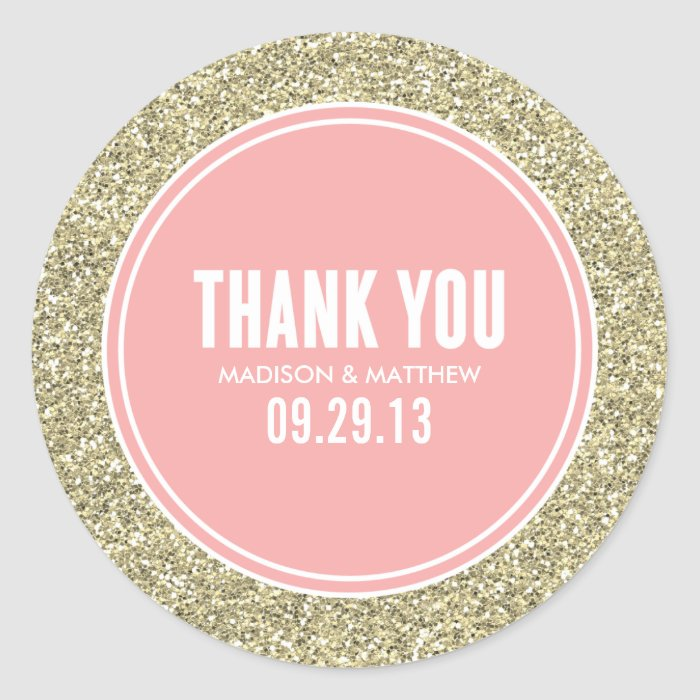 glitter gold wedding favor labels classic round