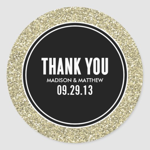 glitter gold wedding favor labels stickers zazzle