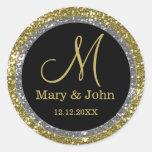 Glitter Gold Wedding Monogram Seals Round Stickers