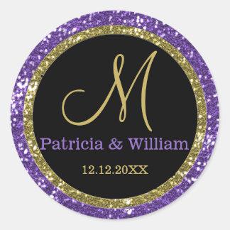 Glitter Gold Wedding Monogram Seals Classic Round Sticker