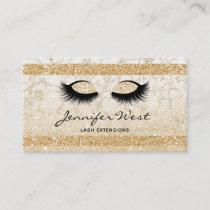 Glitter Gold white marble makeup artist eyelashes Business Card