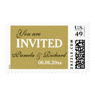 Glitter Gold You Are Invited Wedding Postage