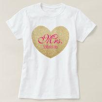 Glitter Golden Heart Personalized Mrs.2 T-Shirt