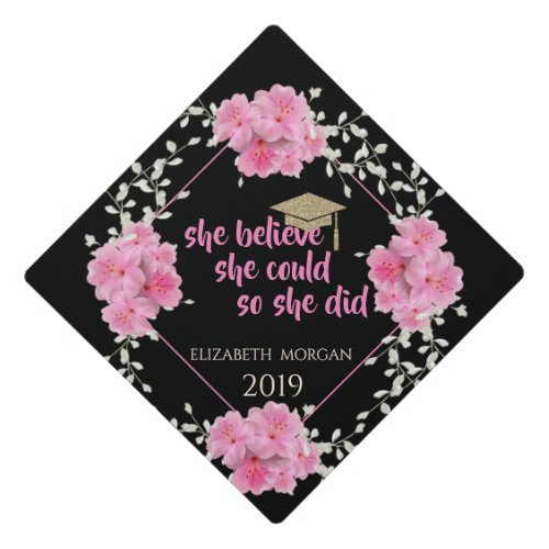 Glitter Graduate CapFloral_Motivational Message Graduation Cap Topper