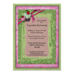 Glitter Green And Pink Cupcake Exchange Invitation
