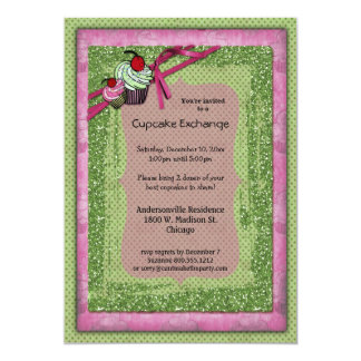 "Glitter Green And Pink Cupcake Exchange Invitation 5"" X 7"" Invitation Card"