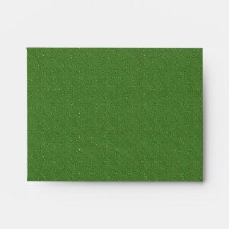 Glitter Green Black Linen RSVP Envelopes