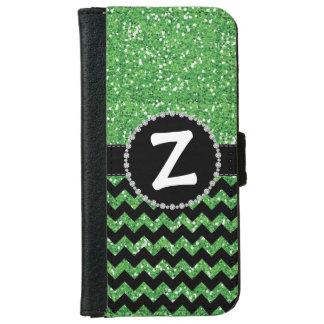Glitter Green Chevron, Diamond Ribbon Flap iPhone 6 Wallet Case