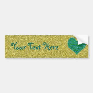Glitter Green Heart on Gold Glitter Background Car Bumper Sticker
