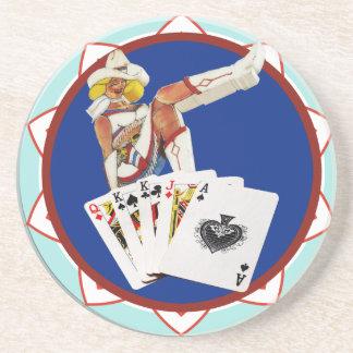 Glitter Gultch Sally Poker Chip Beverage Coaster