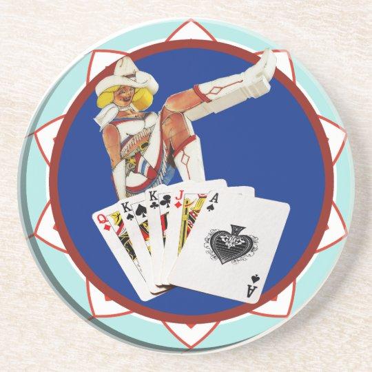Glitter Gultch Sally Poker Chip Sandstone Coaster
