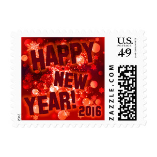 Glitter Happy New Years | scarlet red Postage