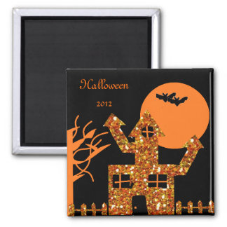 Glitter Haunted House 2 Inch Square Magnet
