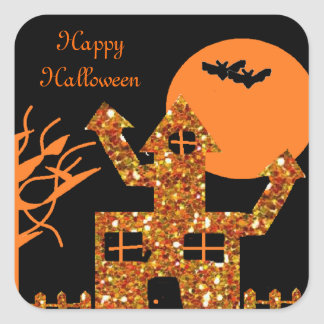 Glitter Haunted House Stickers