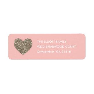 Glitter Heart Address Label - Peach