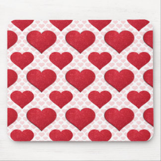 Glitter Heart Basic 1 Red Mouse Pads