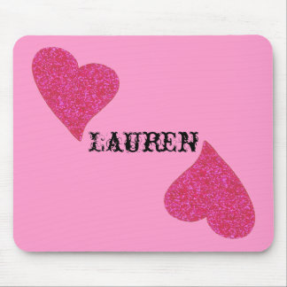 glitter heart design perosnalized mouse pad