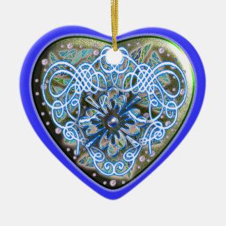 glitter heart engraved ceramic ornament