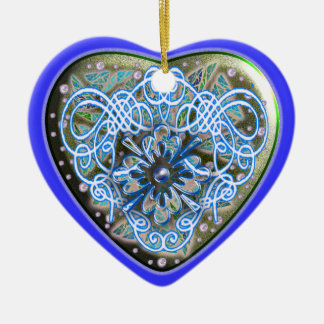 glitter heart engraved Double-Sided heart ceramic christmas ornament