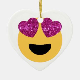 glitter heart eye emoji ceramic ornament