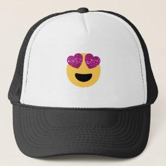 glitter heart eye emoji trucker hat