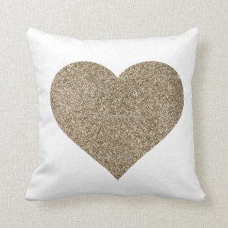 Glitter Heart Throw Pillow