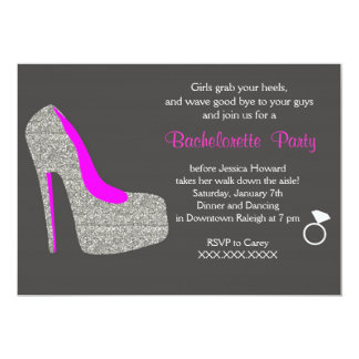 Glitter High Heel Bachelorette Party Invitation